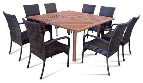 vifah nine outdoor dining set with square table
