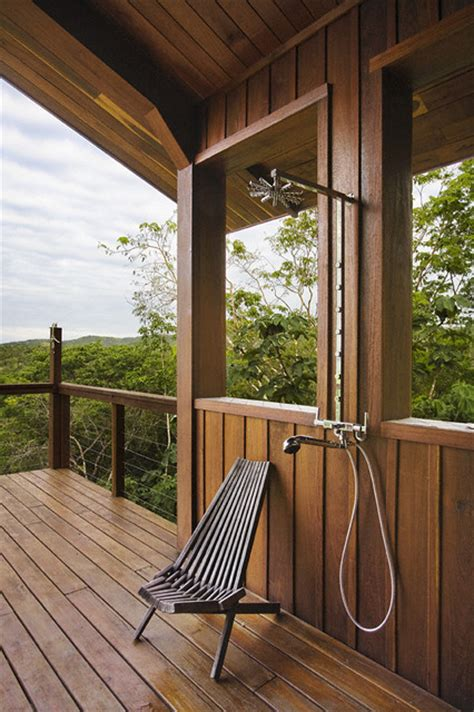 Belize Residence: Outdoor Shower - Rustic - Patio - other