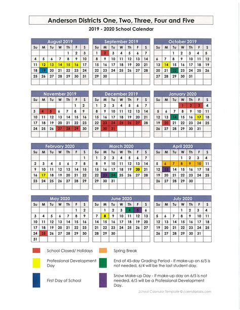 anderson school district calendar publicholidaysus