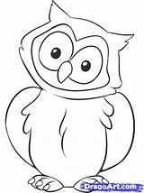 Owl Drawing Draw Easy Drawings Owls Cartoon Simple Coloring Pages Step Animal Dragoart sketch template