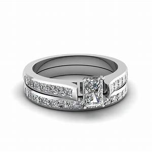 radiant cut channel set diamond wedding ring sets in 14k With channel set diamond wedding ring