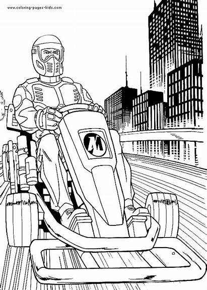 Action Coloring Pages Cartoon Printable Motorcycle Characters