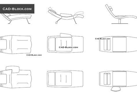 Chaise Lounge Cad Blocks, Free Autocad Drawings Download