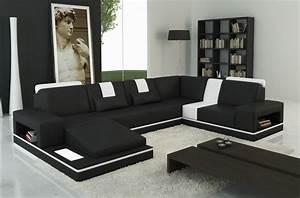 canape d39angle en cuir italien 6 7 places sublimo noir et With canapé d angle en cuir 6 7 places