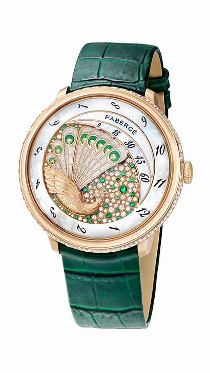 Faberge Peacock Lady Watches Eggs Compliquee Emerald
