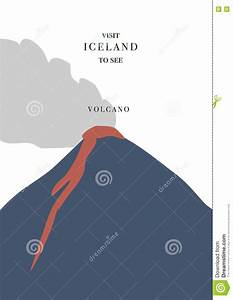 Iceland Volcano Vector Illustration
