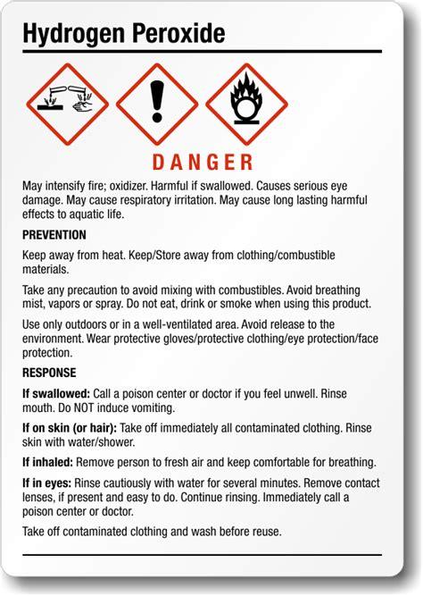 hydrogen peroxide chemical ghs label    sku
