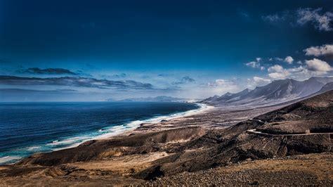 Wallpaper sky, sea, shore, Spain, Fuerteventura, Coast of ...