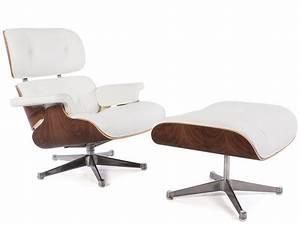 Fauteuil Lounge Eames En Cuir Blanc Discount Design
