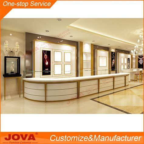 High End Modern Wood Glass Jewellery Shop Corner Showcase