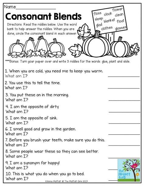 beginning blends  worksheets worksheets