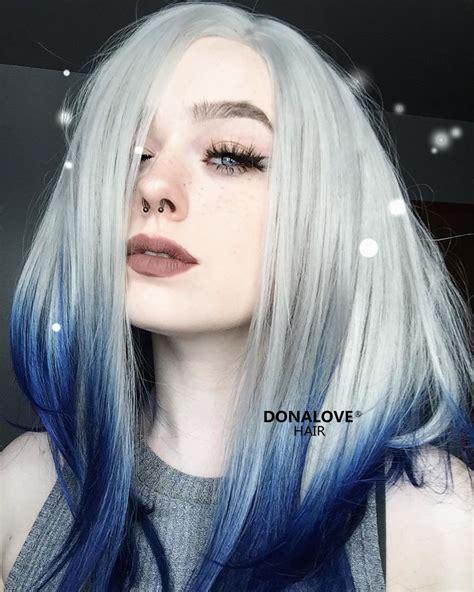bunte haare n grau nach blau lang bob synthetische per 252 cke sny035 donalovehair grau blau bob haar