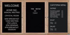 Wood framed letter board 96w x 48h 3 door solid oak for Felt letter board replacement panel