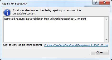 vsto excel data validation missing   opening file