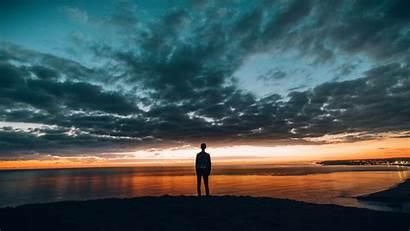 Sunset 4k Boy Horizon Sea Morning Gets
