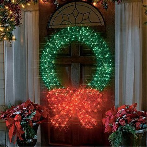 48 quot lighted 3 d outdoor wreath decoration