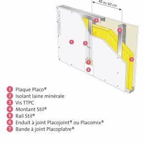 Doubler Un Mur En Placo Sur Rail : cloison placostil 98 48 avec 1 plaque placo phonique ba 13 placo ~ Dode.kayakingforconservation.com Idées de Décoration