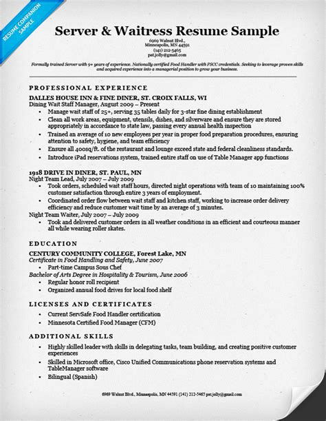 Objective Exles For Resume For Waitress by Server Waitress Resume Sle Resume Companion