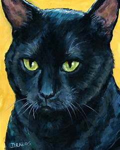 Thinking Black Cat Painting by Dottie Dracos