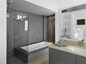 deco salle de bain beton cire With salle de bains beton cire