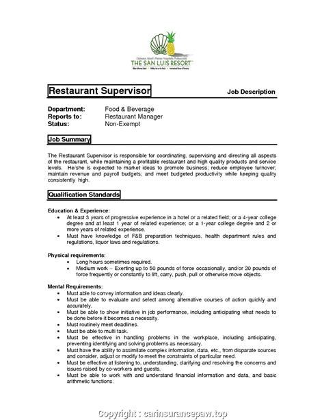 Restaurant Supervisor Resume by Styles Restaurant Supervisor Description For Resume