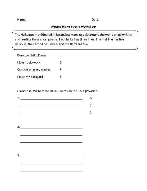 writing worksheets poetry writing worksheets