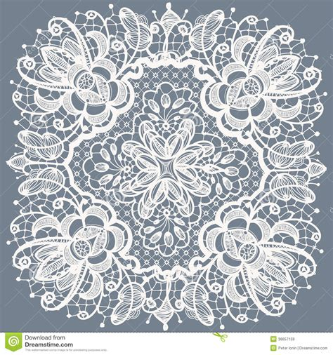 Lace Doily Patterns.with Elements Abstract Flowers Stock