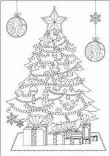 Coloring Tree Christmas Pages Print Jul Mandalas Easy Tulamama Broderi Julgranar Mala Bokmaerken Malarboecker Vit Kort Adult sketch template