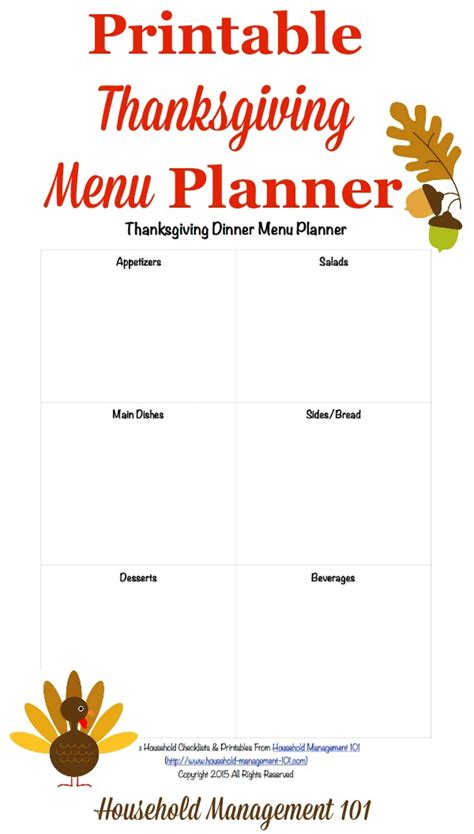 free printable thanksgiving dinner menu planner
