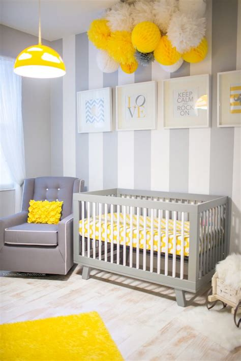 contemporary yellow and gray nursery