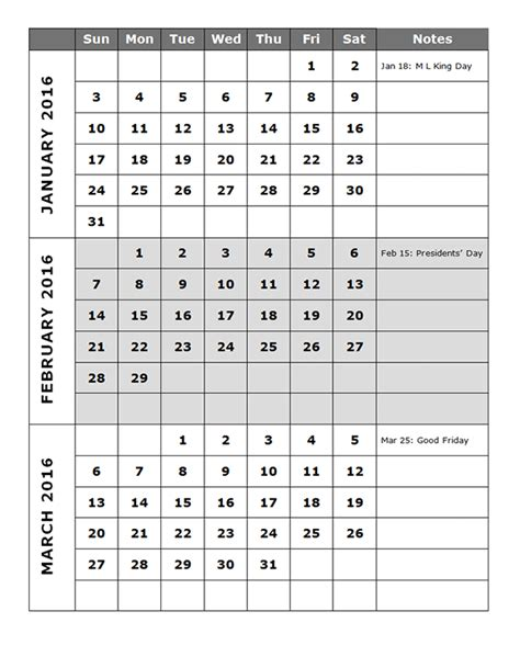 quarterly calendar template p  printable