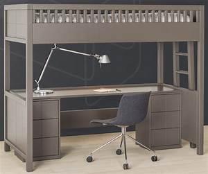 Lit Avec Bureau : lit mezzanine quarr avec bureau rabattable ~ Teatrodelosmanantiales.com Idées de Décoration