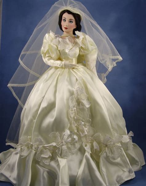 Gone With The Wind Green Curtain Dress by Porcelain Bride Dolls Franklin Mint Gold Series