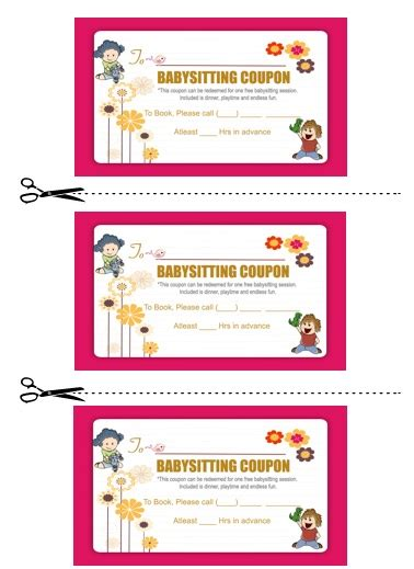 babysitting coupon template 20 free printable babysitting coupon book templates demplates