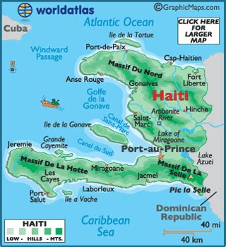 haiti maps including outline  topographical maps