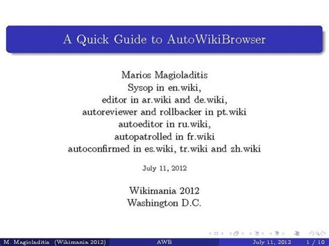 Filea Quick Guide To Autowikibrowserpdf Wikivoyage