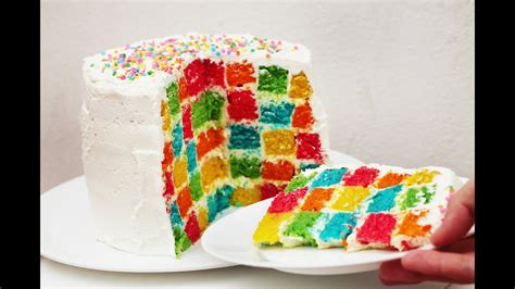 pastel ajedrez arcoiris rainbow checkerboard cake