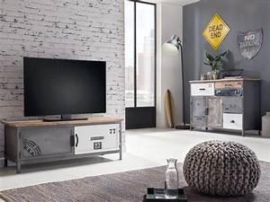 Tv Bank Grau : tv bank pinetown 2t rig grau metall industrial look tv m bel wohnzimmerm bel 4251342303915 ebay ~ Indierocktalk.com Haus und Dekorationen