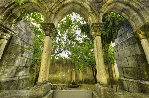 ancient gothic arches  evora portugal wall mural