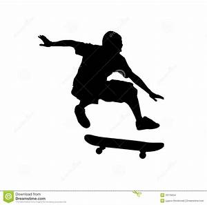 Skateboard clipart silhouette - Pencil and in color ...