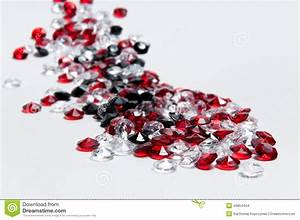 Small White, Red And Black Diamonds Stock Photo - Image of ...