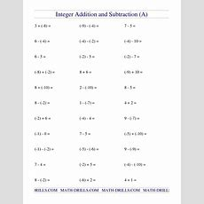 Subtractions Comparing And Ordering Integers Worksheet Pdf Adding  Worksheets Samples