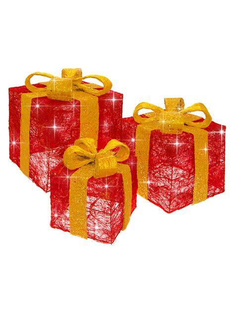 set of 3 lit gift boxes set of 3 led light up present gift box decoration gold ebay