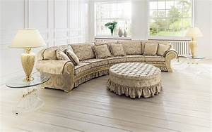 Curved french accent oversized sofa with ruffle added for Sectional sofa round coffee table