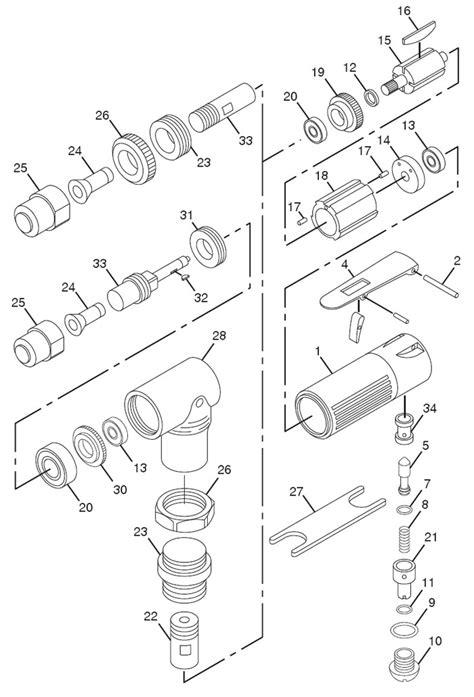 Chicago Pneumatic CP875 Mini Angle Die Grinder Repair Parts