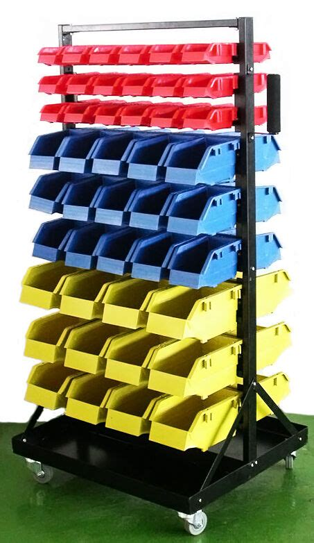 parts organizer rack bins  seperate storage buckets shop