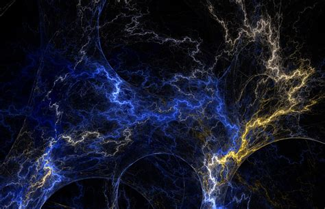 Abstract Lightning Wallpaper by Fractal Texture Blue Yellow Lightning Abstract Zap Bolt