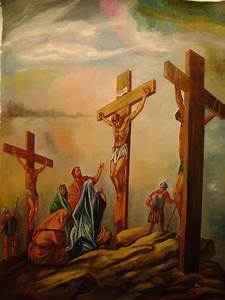 Jesus Crucified On Mountain Golgotha Painting by ...