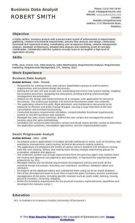 business data analyst resume sles qwikresume