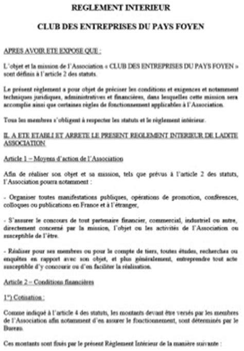 reglement interieur pour le personnel club des entreprises du pays foyen 187 statuts et r 232 glement